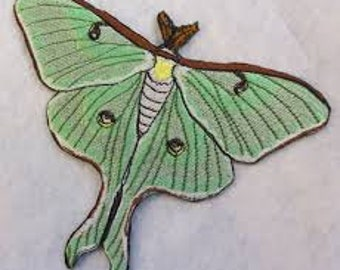 Luna Moth Actias cute green insect Jacket Patch iron on sew on Embroidery badge / patch