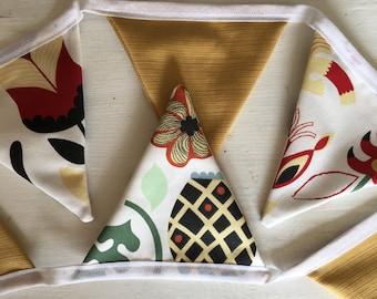 Bunting - Farmhouse - Banner - Shabbychic - Textile Bunting - Hand Sewn - Decoration -