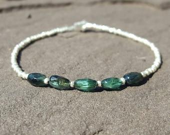 Blue Tourmaline Bracelet Indicolite Tourmaline Bracelets Womens Beaded Bracelets October Birthstone Jewelry Green Tourmaline Bead Bracelet