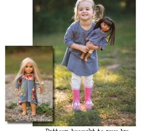 "DOLLY Nina Swing Top, Tunic & Dress 14"" 15"" 18"" PDF Sewing Pattern"