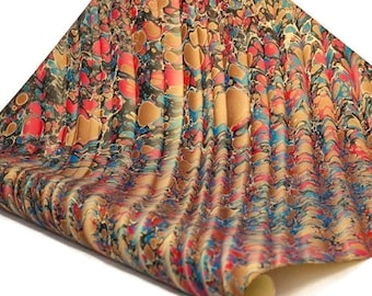 Hand-Marbled Paper Imported From Italy - Stone Wave Pattern - Red/Blue/Brown