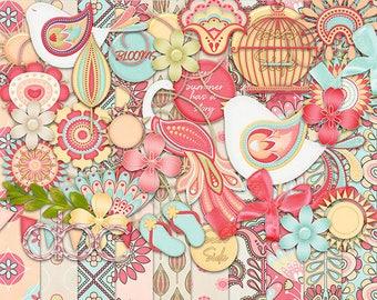 30%Off Summer Blooms  Digital Scrapbooking Kit -Birds Cliparts ,Birthday Digi Kit,Shabby Chic Digi Kit,Shabby Birds Cliparts