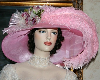 Kentucky Derby Hat Ascot Edwardian Tea Hat Titanic Hat Somewhere in Time Hat Downton Abbey Hat Women's Pink Hat - Run for the Roses