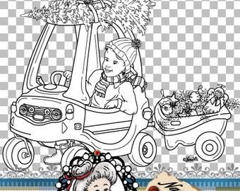 Christmas Cosy Trike Bike Girl Digital Stamp Digi Instant Download ID:NV-DS0074 By Nana Vic