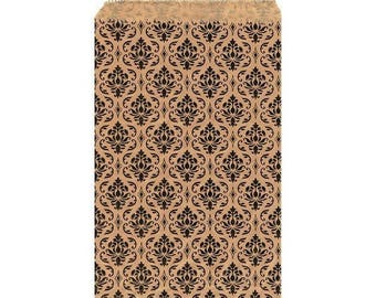 """100 Damask Print Merchandise Retail Paper Party Favor Gift Bags 4"""" x 6"""" Tall"""