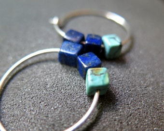 blue lapis lazuli earrings. natural turquoise jewelry. sterling silver hoops. made in Canada.