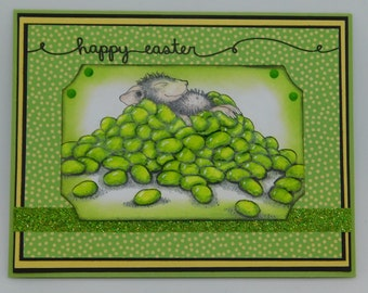 Easter Card.  House Mouse on a Pile of Jelly Beans.