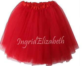 """Red XL Adult 3-Layer Tutu SALE / Waist Stretch 18-36"""" / 17"""" Length / Skirt Style"""