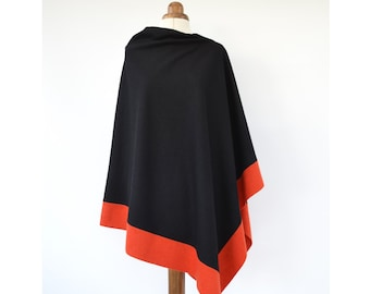 Black Wool Poncho, Asymmetrical Poncho, Wool Wrap, Colour Block Poncho Sweater, Black Wool Cape, Wool Wrap Shawl