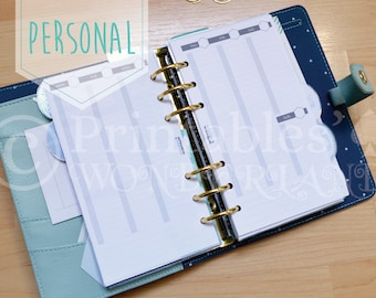 Vertical hourly weekly inserts printable for personal size planner - Personal week on two pages hourly digital download