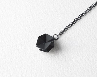 Geometric Chain Necklace, Sterling Silver Pendant Necklace, Geometric Charm Necklace, Hexagon Pendant Necklace, Minimalist Necklace
