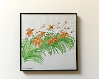 58/100: Day Lilies - original framed watercolor illustration
