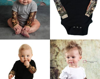 Temporary Tattoo sleeve shirt - Flash Tattoo - Tattoo Romper - Funny Baby Gift - Cool Baby Shirt - Tattoo