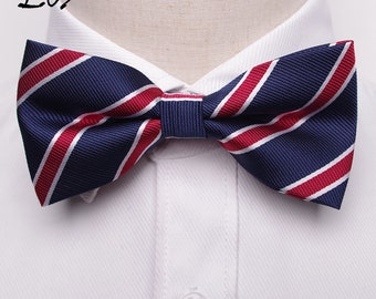 Red Striped- Navy- Bow Tie- Neck Tie- For All Occasion