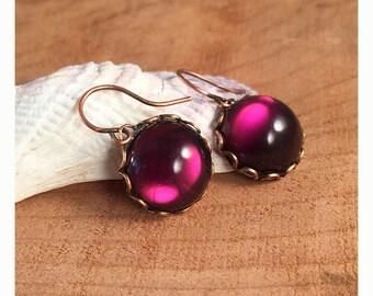 Czech amethyst glass cabochon dangle earrings. Amethyst and copper petite dangle earrings. Czech cabochon earrings. Purple cab earrings.