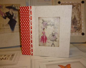 """Notebook """"The red dress"""" book of ideas, notes of vintage style."""