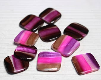 Painted flat square beads
