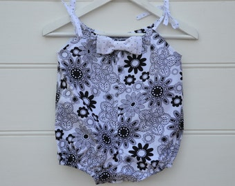 Black and white rompers - girls floral rompers, baby girls present, summer overalls