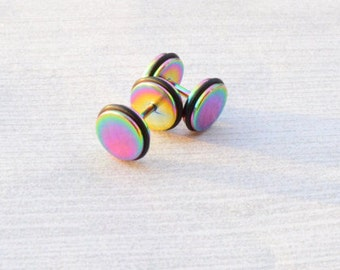 Rainbow Titanium Fake Plugs, Colorful Earrings, Faux Gauges, Faux Plugs, Rubber Ends, Surgical Steel, Screw Backs