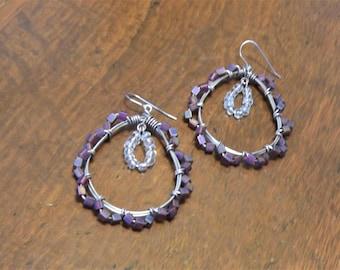 Intricate purple large wire-wrapped teardrop hoops