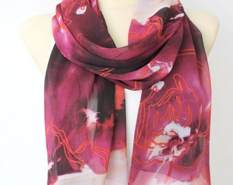 Red White Scarf Chiffon Scarf Red Scarf Women Summer Scarves for Women Ladies Scarf Burgundy Scarf Summer Fashion Gift for Wife Birthday