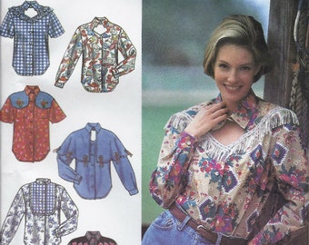 Fancy button-down Western shirts pattern with yoke and sleeve variations in Misses' sizes 12, 14, 16 Simplicity 8259 UNCUT & FF (1992) K0591