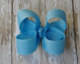 Blue Toddler Hair Bow 3 Inch Alligator Clip Baby Hairbow