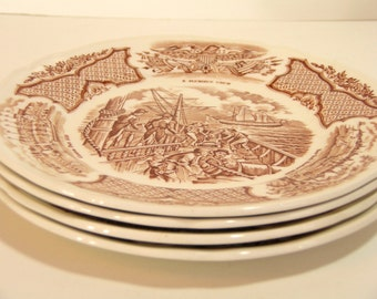 Alfred Meakin Brown Fair Winds Dessert Plates, Set of Four