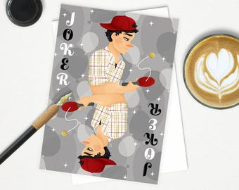 Joker card etsy joker greeting card m4hsunfo Images