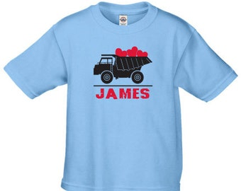 Boys Valentines day shirt, Valentine dump truck shirt, personalized Valentine shirts for boys