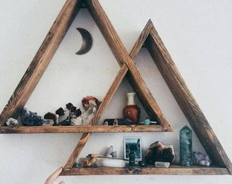 Mountain Triangle Shelf, Geometric Wood Shelf, Wood Triangle Shelf, Wood  Wall Shelf,
