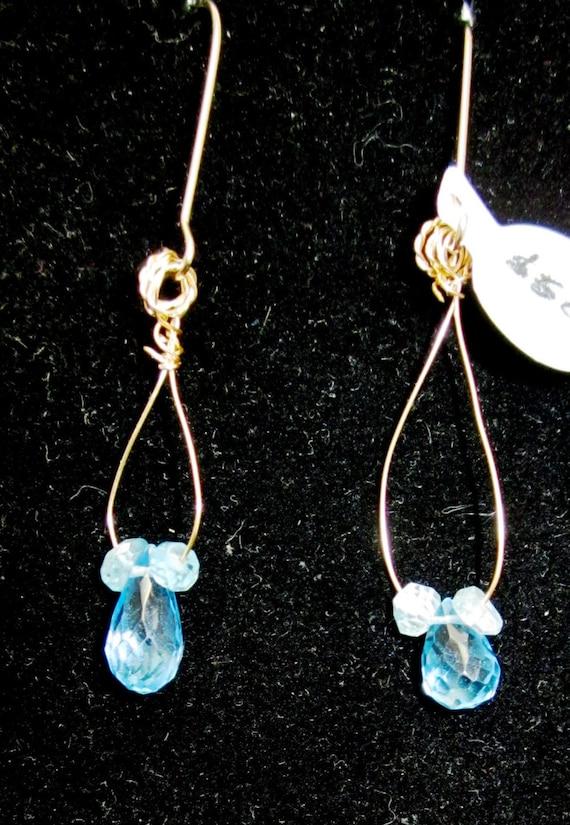 Earrings J Topaz, sky blue, Faceted Teardrops, December Birthstone, Apatite gold kidney wires 7.5ct