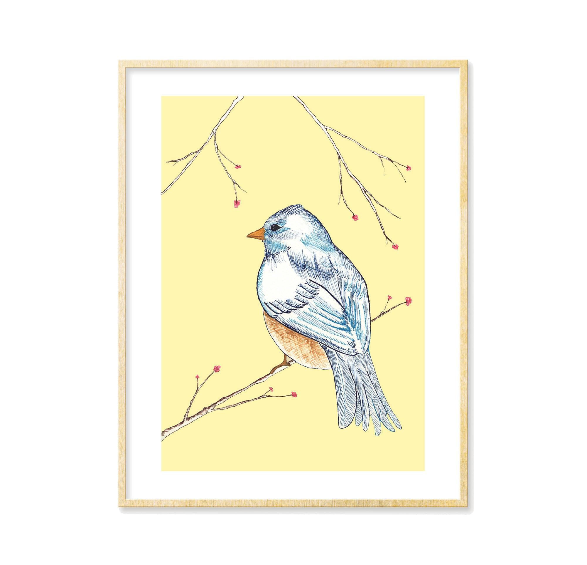Bird Print Nursery Decor Woodland Decor Adorable Wall Art