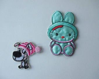 Kids badges, rabbit, dog, iron or sew small shield crest.