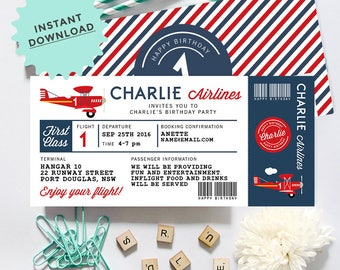 Airline Plane Invitation, INSTANT DOWNLOAD, DIY Printable, Templett, Editable pdf jpeg