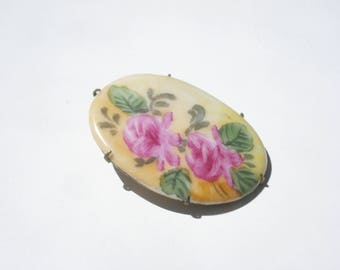 Antique Yellow Flower Brooch - Oval Floral Pin  - Retro Jewelry Pin 1800s