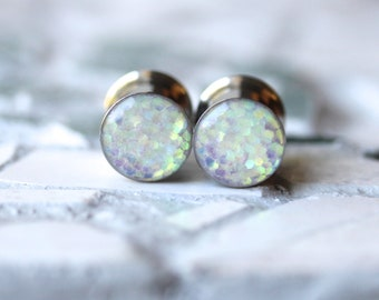 """Ear Plugs and Tunnels, Gauges, Plug Earrings with Iridescent Glitter- custom sizes 0g, 00g, 7/16, 1/2, 9/16, 5/8, 3/4, 7/8, 1"""""""