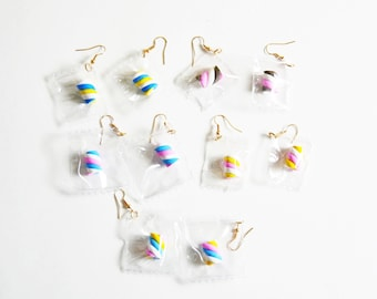 Miniature Marshmallow Candy earrings/ Marshmallow charm/ Candy jewelry/Polyclay Marshmallow Twist Candies
