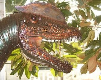 Dilophosaurus Dinosaur Metal Sculpture