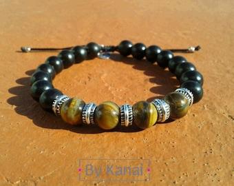 Mens Tiger eye and ebony wood bracelet