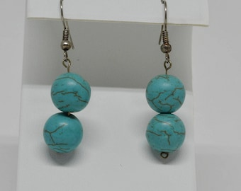 Charming Teal Color Beaded Earrings