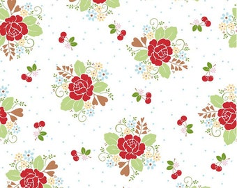 15 Yards in Stock - Riley Blake - Sew Cherry 2 - Sew 2 Main White by Lori Holt - 100% Cotton