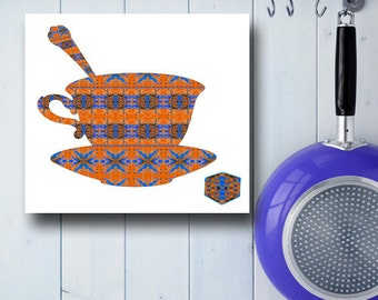 Tea Cup Kitchen Art, Tea Lover Gift, Cup of Tea Painting, Tea Cup Wall Art, Tea Pot Decor, Modern Kitchen Art, Abstract Kitchen Wall Art