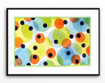 Cheerful Bold Abstract, Sale, Poke a dots, Blue painting, Orange Yellow abstract, Abstract circles, Abstract balls, WatercolorByMuren