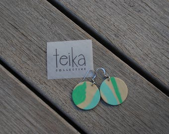 Handmade Polymer Clay Earrings - Circle - Earthy Colours