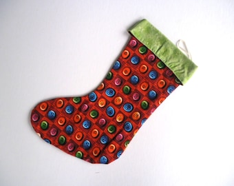 Red and Green Christmas Stocking, Button Stocking, Reversible Christmas Stocking, Green Stocking, Red Stocking
