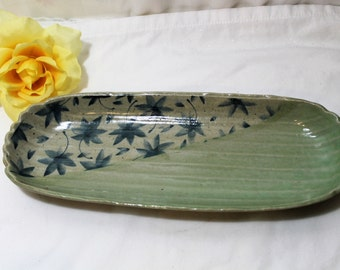 Vintage Pottery Oblong Tray, Green, Leaves, Bread Tray