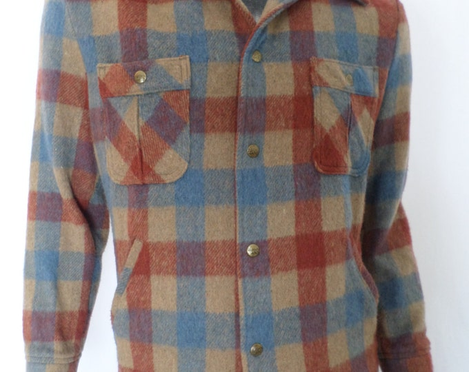 Vintage 1970's Lee ReTrO WooL Men's TarTaN PLAID Jacket HuGe Flared Collar HiPsTeR M L