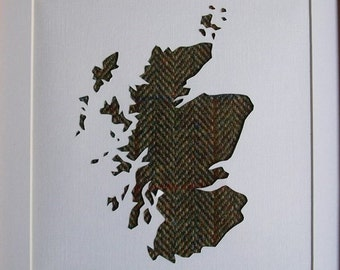 Scotland map hand cut and backed in Harris Tweed