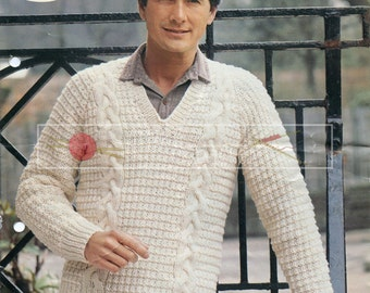 Men's Cable Sweater Chunky 36-44in Sirdar 6384 Vintage Knitting Pattern PDF instant download